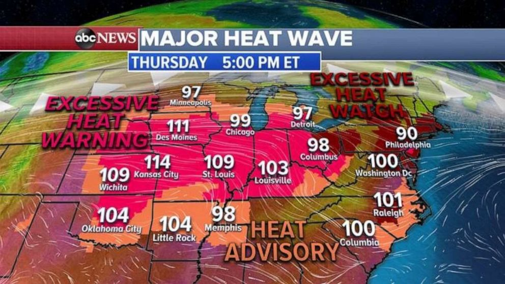 PHOTO: An excessive heat warning blankets most of the Midwest on Thursday.