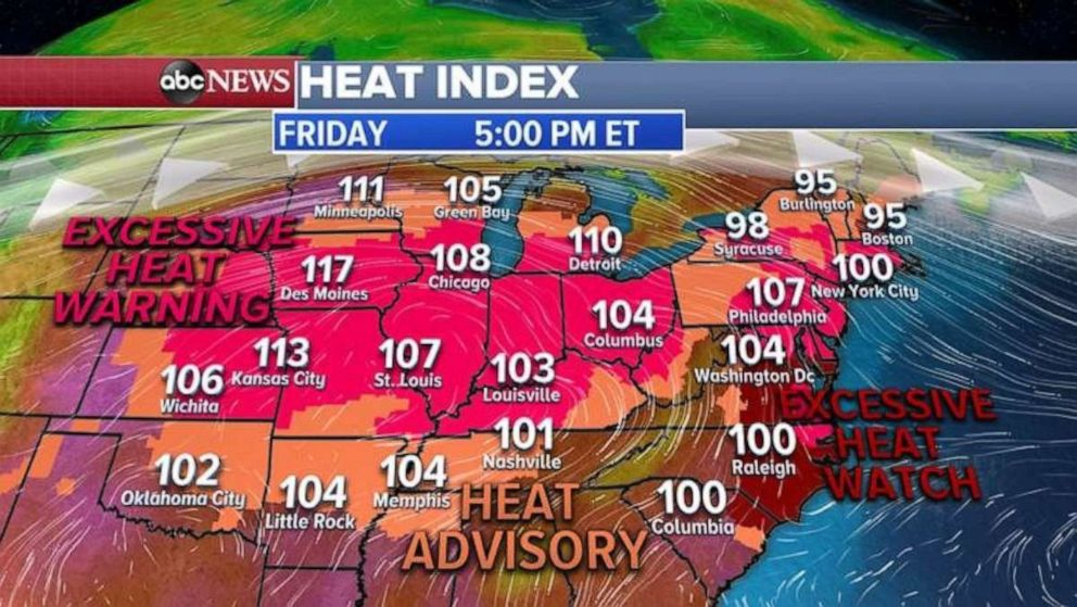 PHOTO: Excessive heat warnings and heat advisories have been issued for Friday.