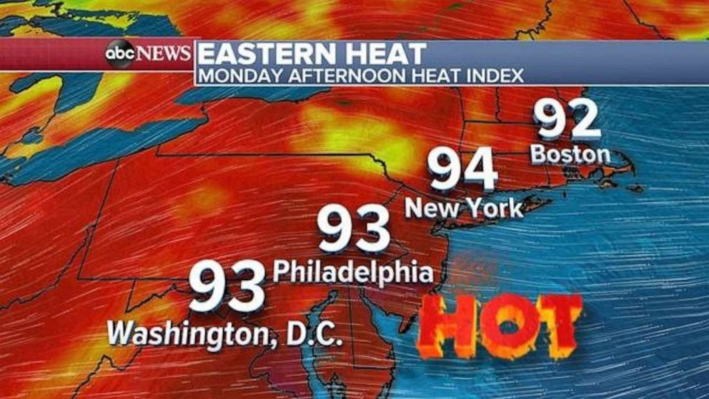 PHOTO: The East Coast is forecast to see blazing highs on Monday.