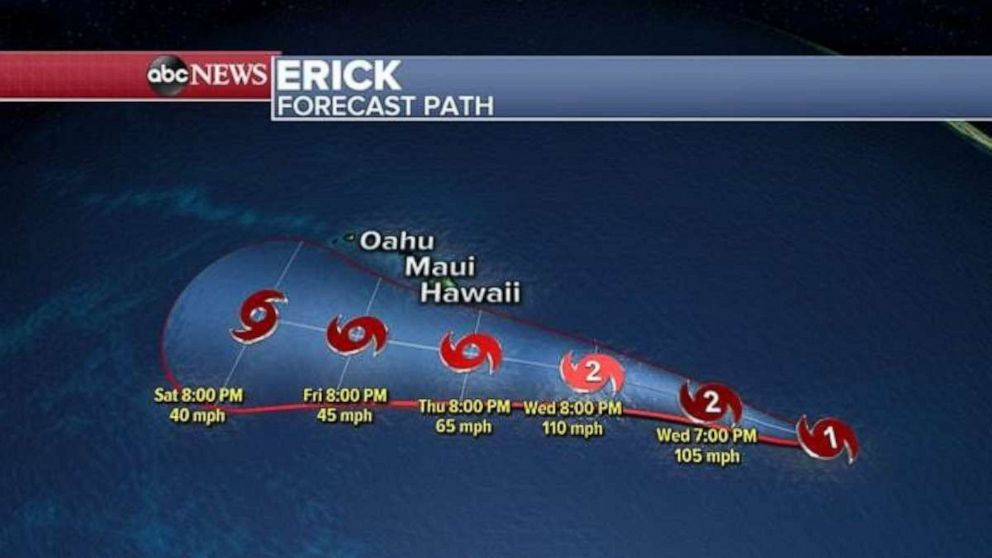 PHOTO: This image shows Ericks projected path.