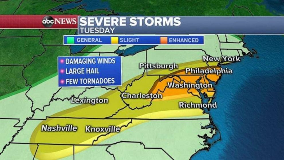 PHOTO: Severe weather moves into the mid-Atlantic on Tuesday.