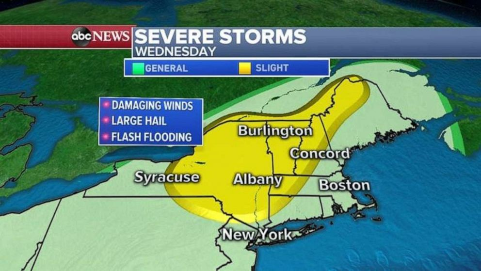 PHOTO: Severe storms are expected in the Northeast by Wednesday.