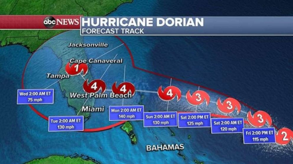 ABC News This detailed forecast tracker shows Dorian's likely path