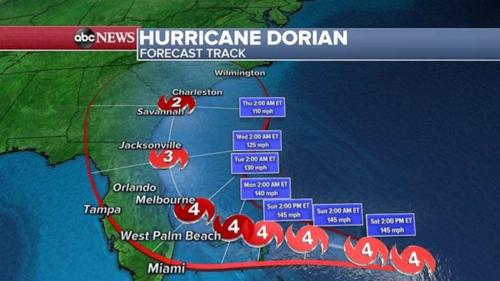 PHOTO: The latest forecast shows the storm curving up the Florida coast.