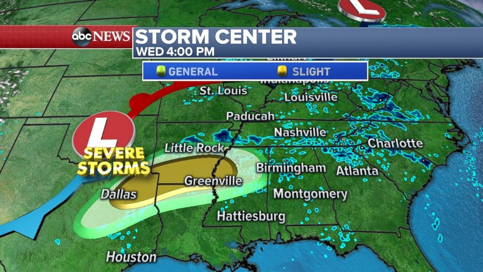 Severe storms are expected tomorrow from Northeast Texas up through northern Mississippi.