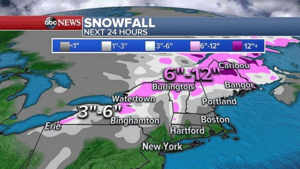 Parts of the Upper Northeast may see another 6-12 inches of snow over the next 24 hours.