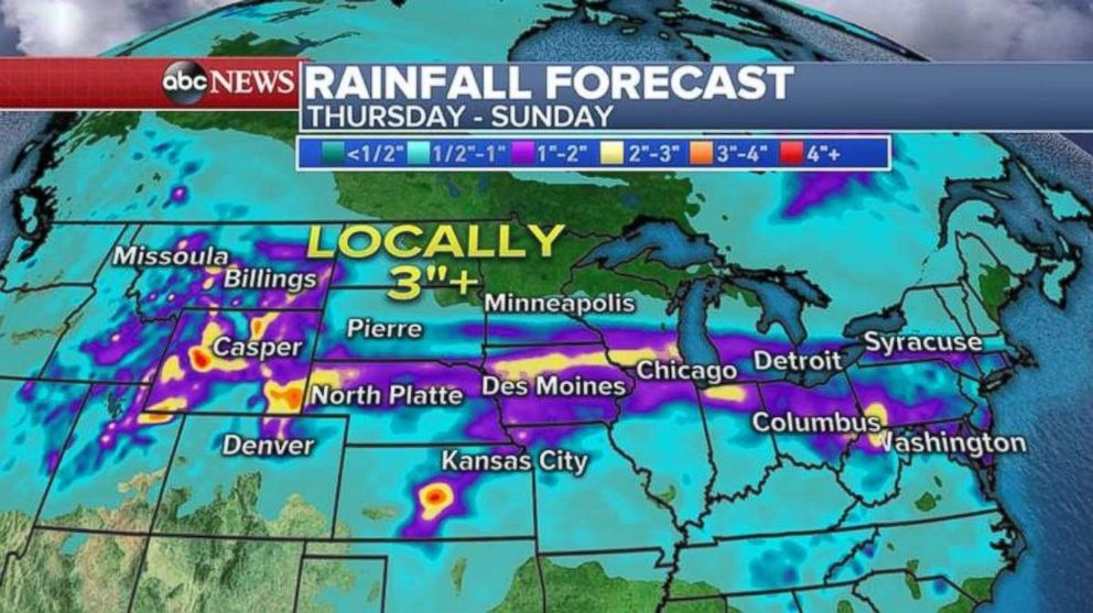 Rainfall is expected from the Rockies to the Northeast through Sunday.