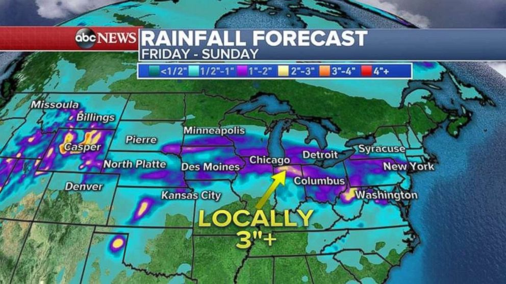 Rainfall through Sunday in some parts may near 4 inches.
