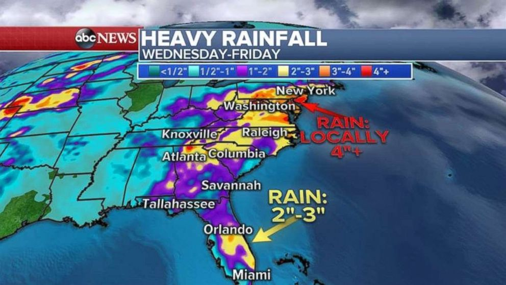 Some regions may see more than 4 inches of rain through Friday.