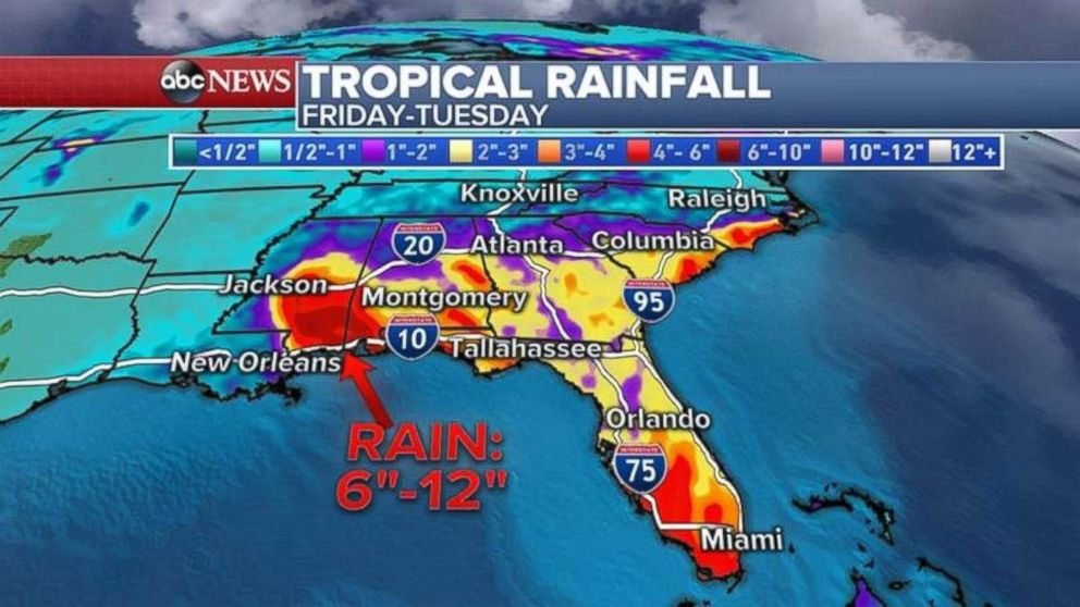 From Friday through Tuesday, parts of the Southeast may see 6-12 inches of rain.