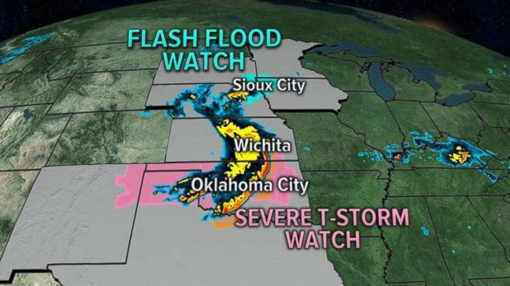 Flood watches and warnings and severe thunderstorm watches and warnings stretch from Minnesota to Texas this morning.