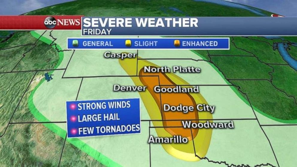Tornadoes, damaging winds and hail are possible in a wide swath of the Plains today.