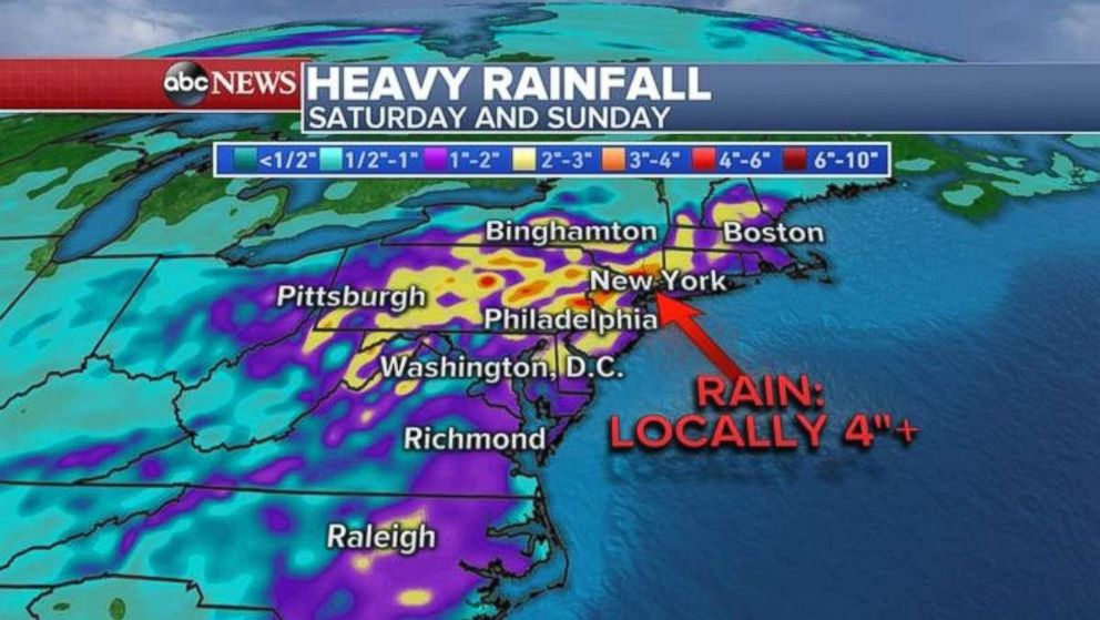 The Northeast is expecting heavy rainfall over the weekend.
