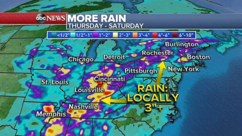 The eastern U.S. is expecting even more rain through Saturday.