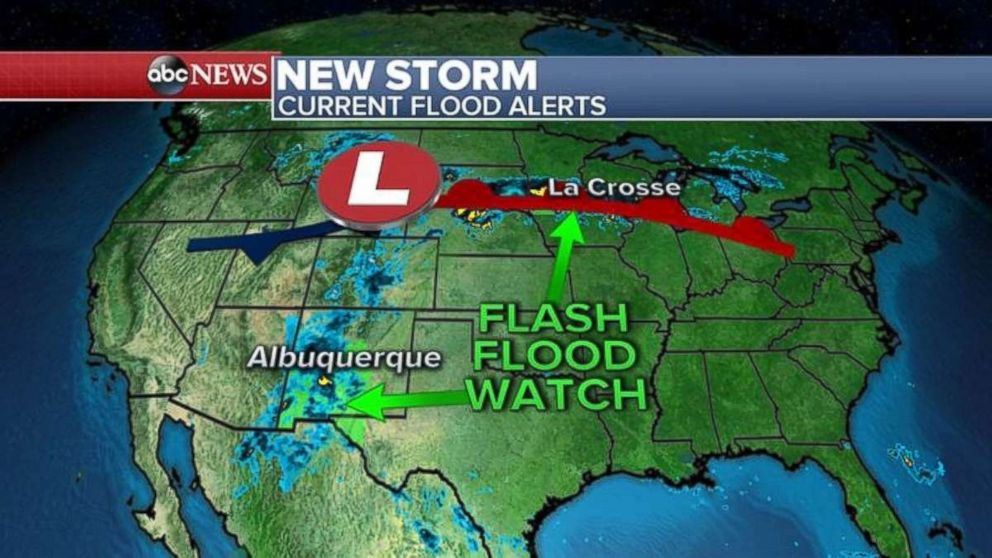 There are flash flood watches this morning in parts of the Midwest as well as Southwest.