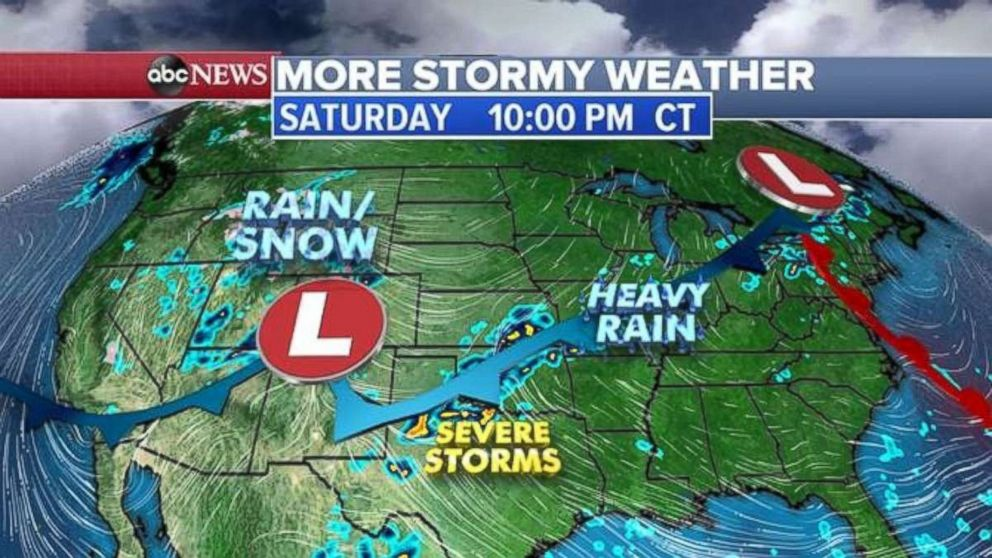 More stormy weather is expected through Saturday for much of the U.S.