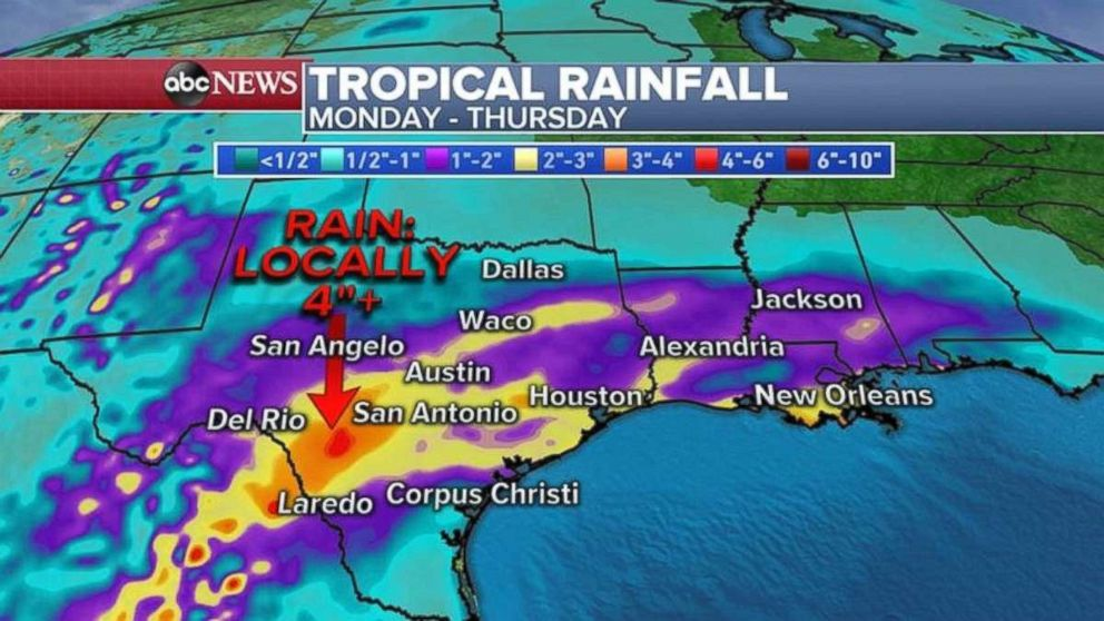 Parts of Texas may see 4 inches of rain through Thursday.