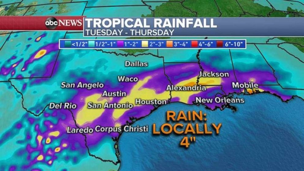 Local rainfalls throughout the South likely will be approaching 4 inches.