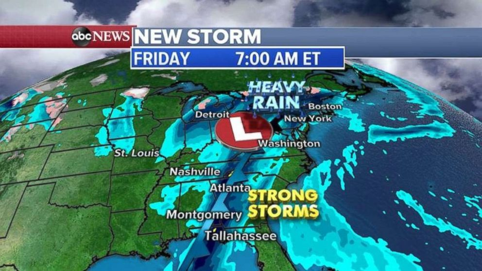 Strong storms are forecast for the East Coast on Friday.
