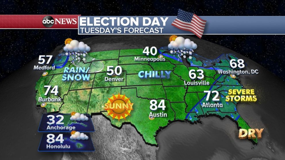 Depending where you live, take an umbrella with you to the voting booth on Tuesday.