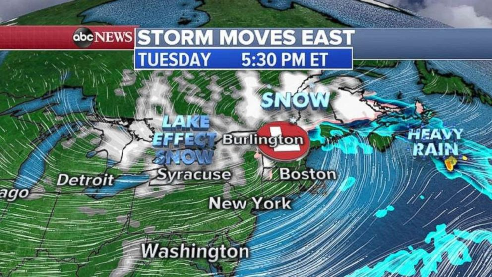 The winter storm is expected to continue east on Tuesday
