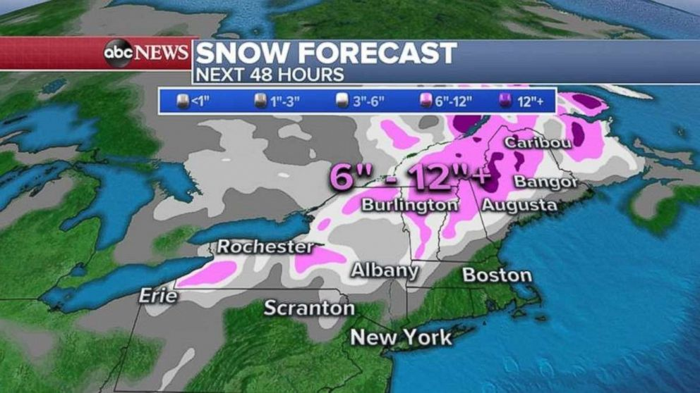 Much of the far Northeast could see at least a foot of snow over the next 48 hours.