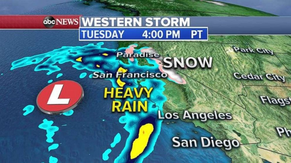 The West Coast could be seeing heavy rain by Tuesday afternoon.