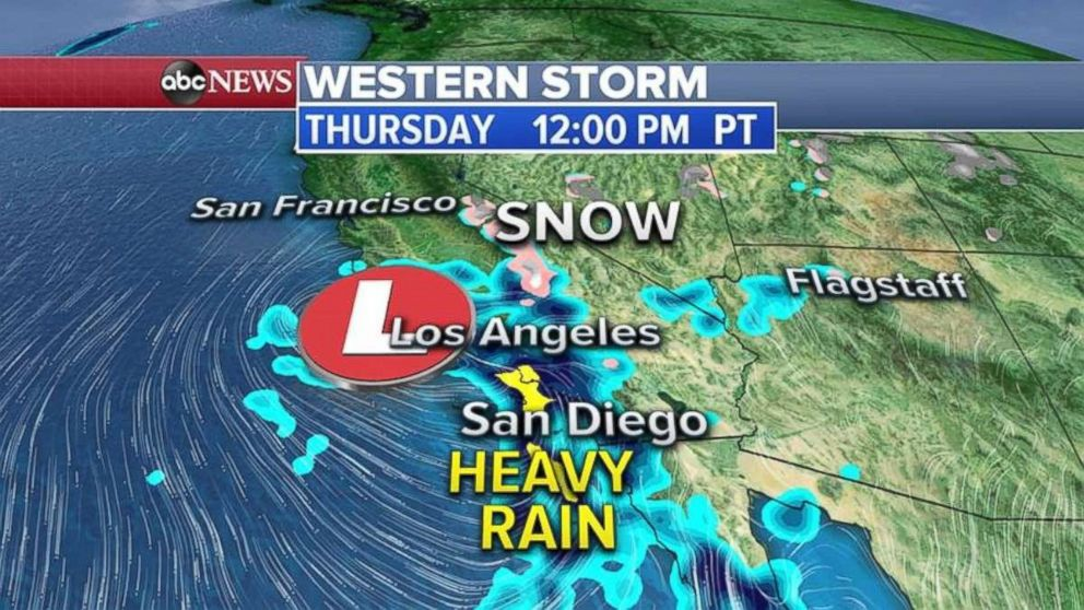 Heavy rain is expected in Southern California on Thursday.