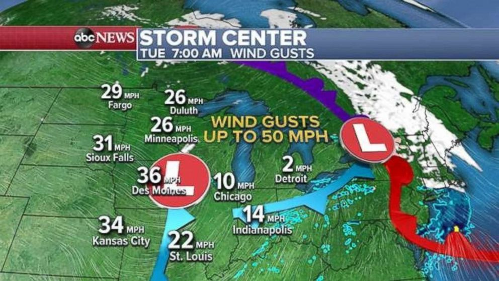 Gusty winds are expected this morning in the upper Midwest.