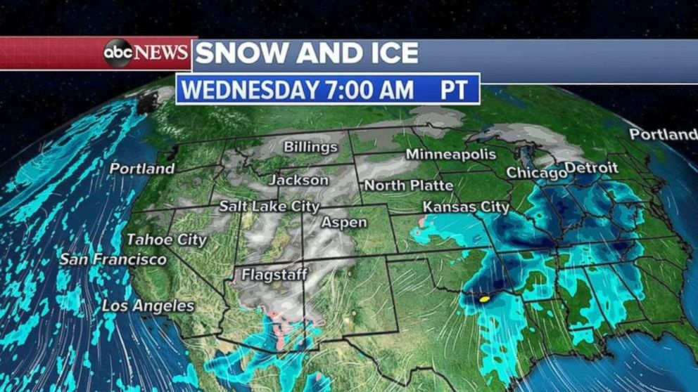 More snow and ice are heading east tomorrow morning.