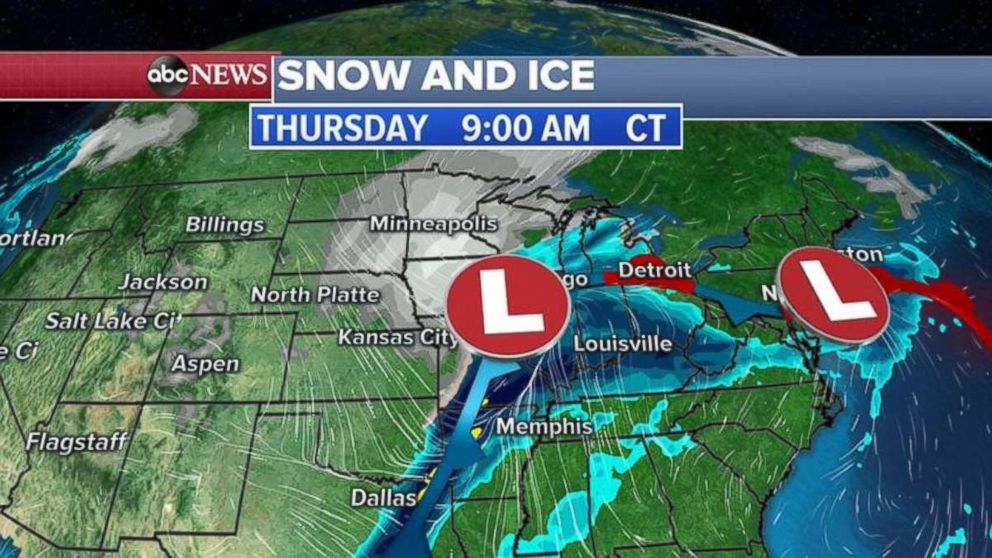 It looks as though the Midwest will be pounded with snow and ice Thursday morning.