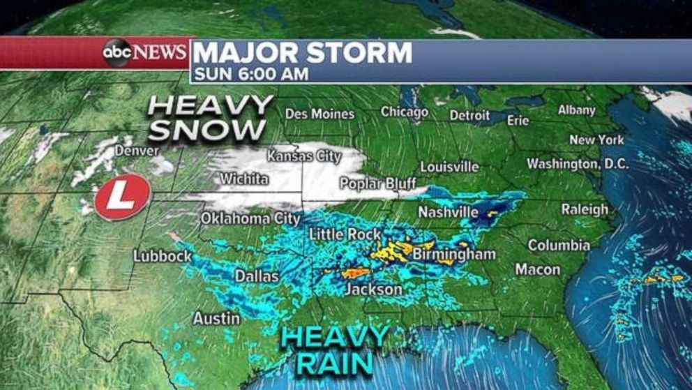 PHOTO: The major storm, heading east, will deliver heavy rain to the South on Sunday morning.