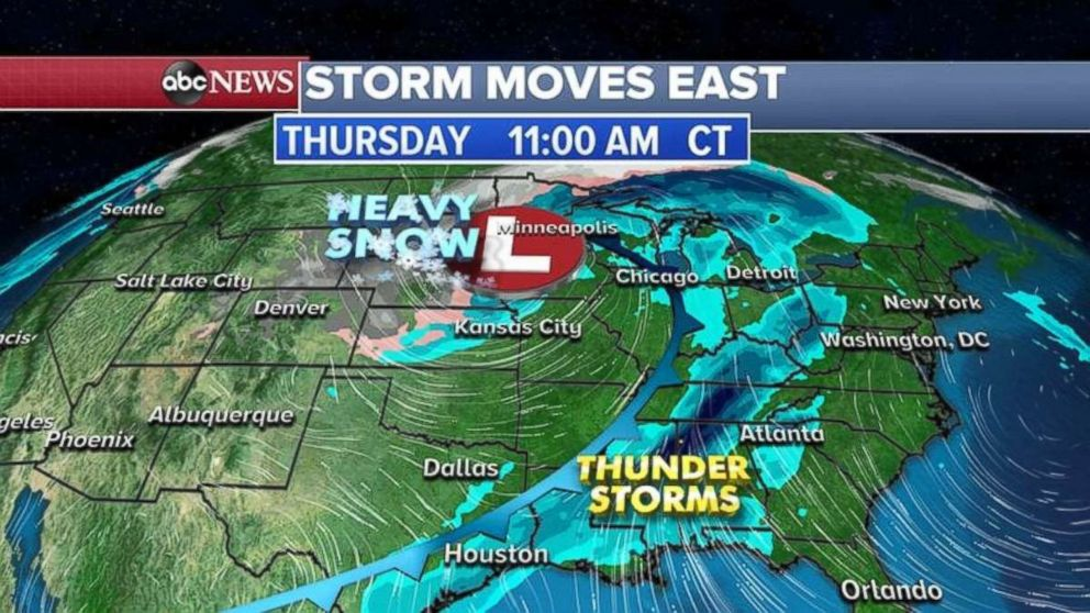 PHOTO: The new storm is expected to keep heading east.