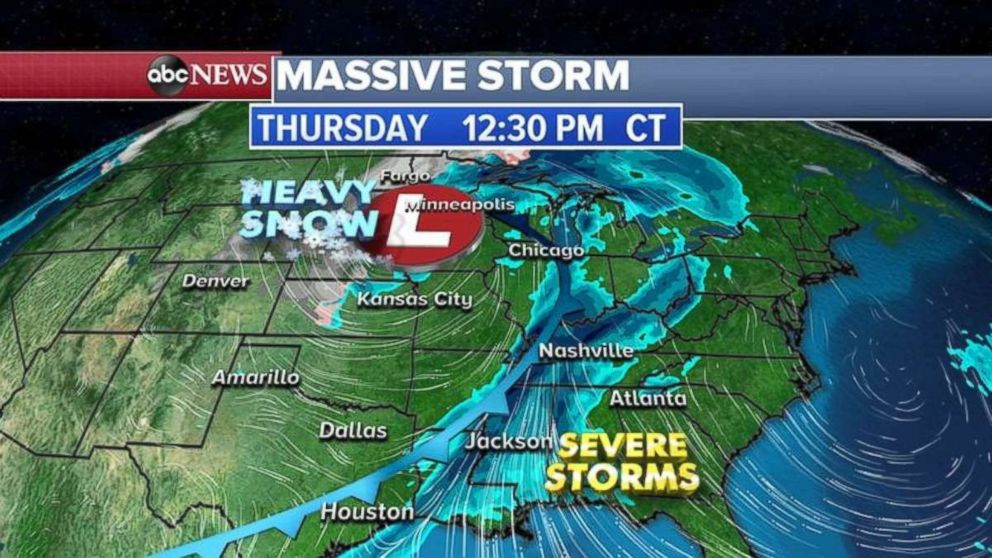 PHOTO: The massive storm pushes farther east on Thursday.