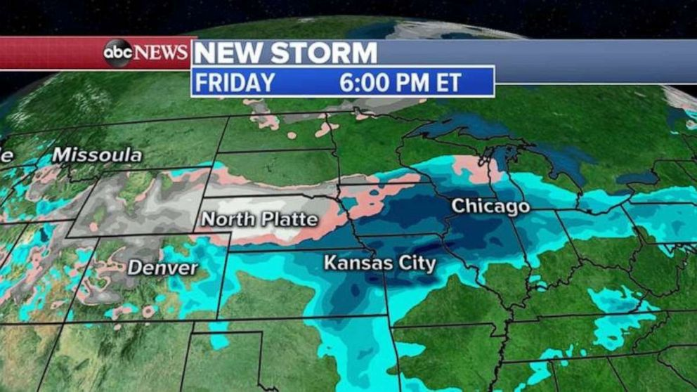 The new storm will be over the Midwest by Friday.