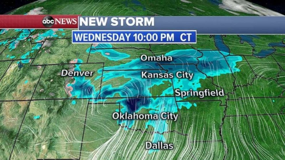 The new storm will be over the Midwest by Wednesday.