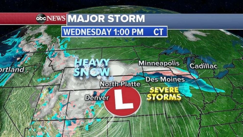 PHOTO: Heavy snow will be moving into the upper Midwest by Wednesday.