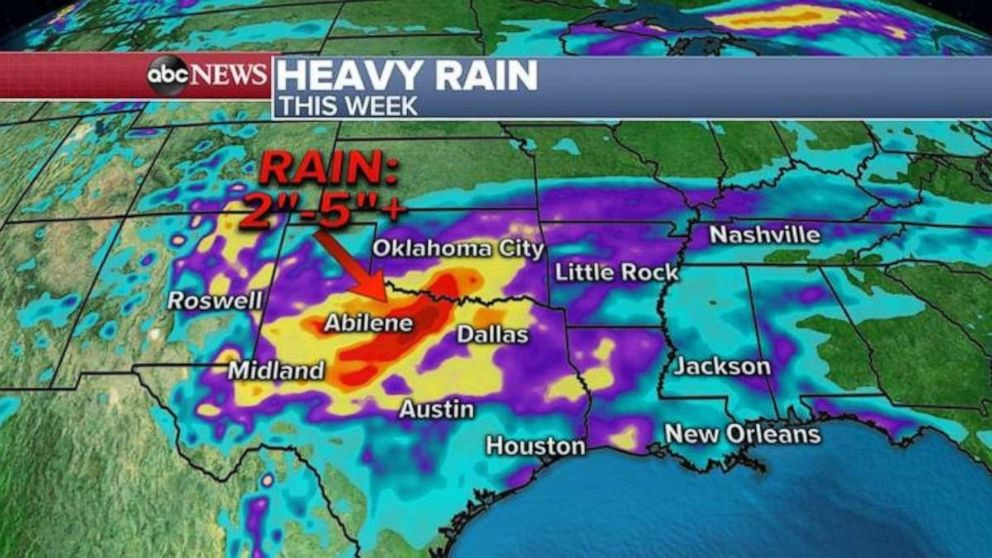 PHOTO: Texas may get pounded with rain this week.