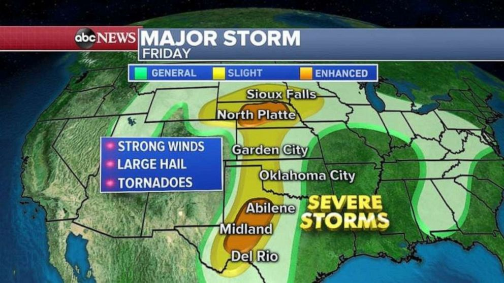 The major storm will stretch over most of the U.S. by Friday.