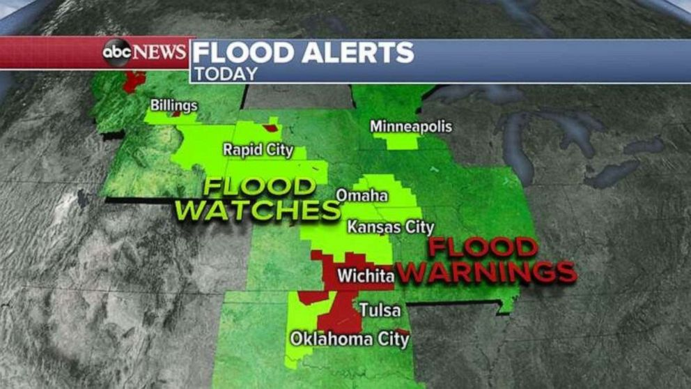 PHOTO: Flood watches and alerts were issued Monday morning.