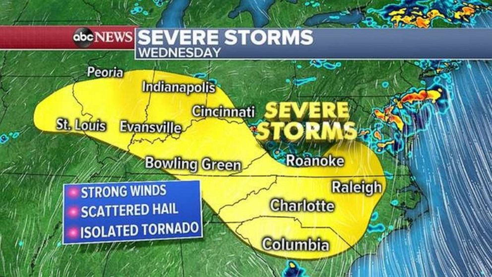 PHOTO: Severe weather on Wednesday may stretch from St. Louis to past Raleigh.