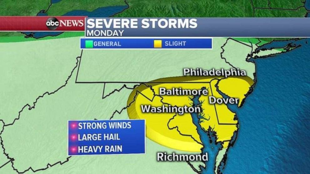 PHOTO: Severe storms are forecast Monday in the mid-Atlantic region.