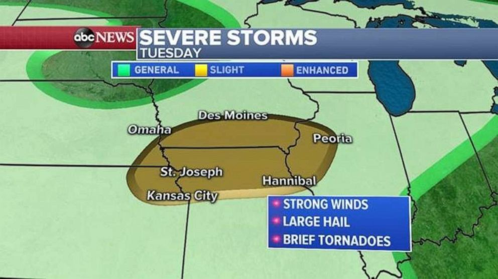 PHOTO: Severe weather is forecast for the Midwest again on Tuesday.