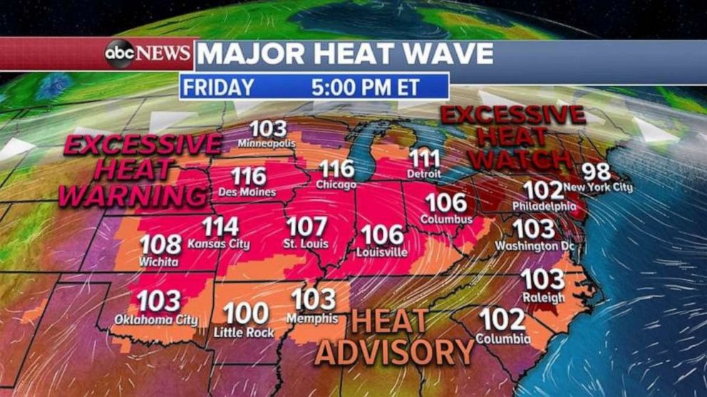 PHOTO: Heat warnings for Friday stretch across most of the U.S.