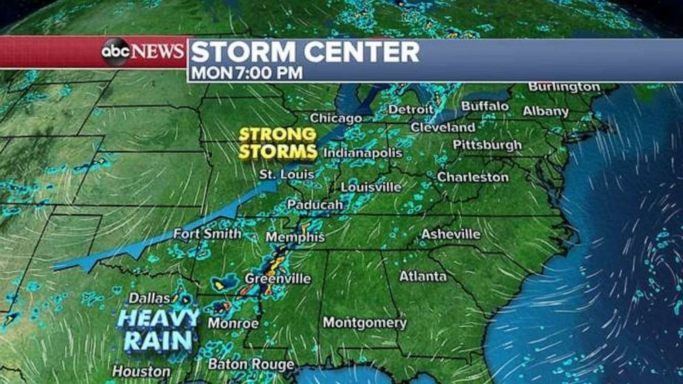 PHOTO: Strong storms are expected this evening in much of the U.S.