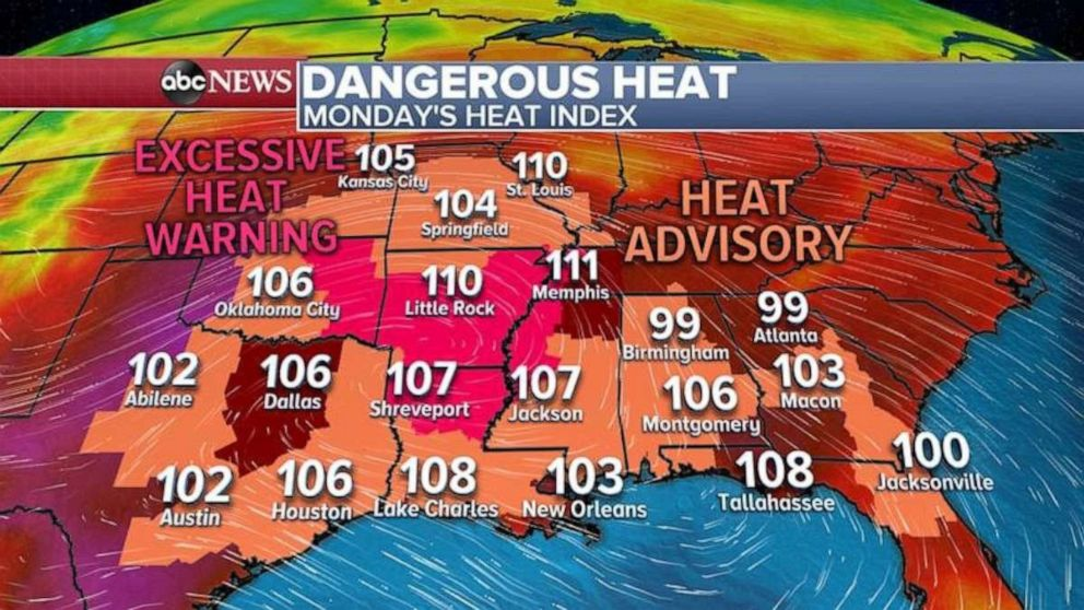 PHOTO: Dangerous high temps are predicted throughout much of the South on Monday.
