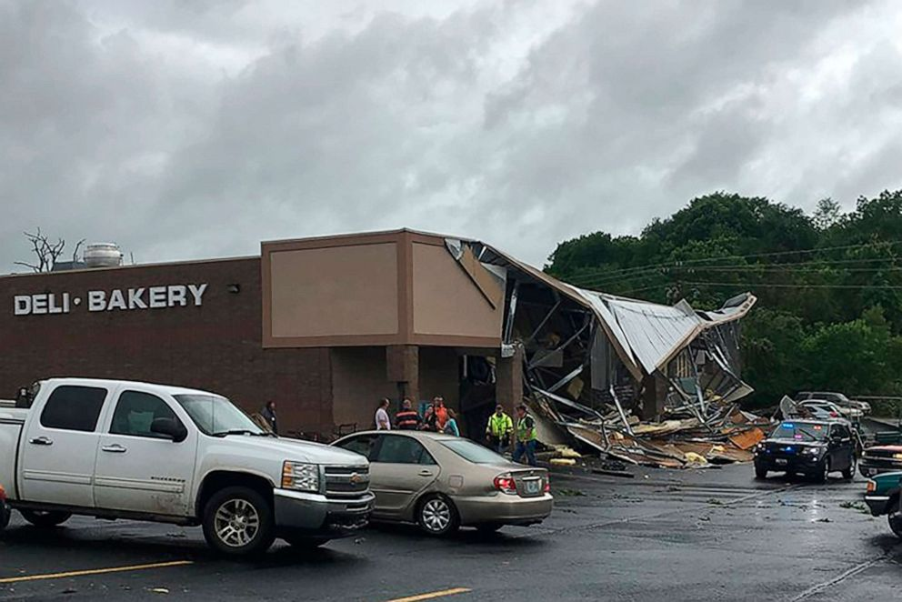 PHOTO: Storm damage from a suspected tornado in Wright County at the Town and Country Supermarket in Hartville, Mo., May 21, 2019.