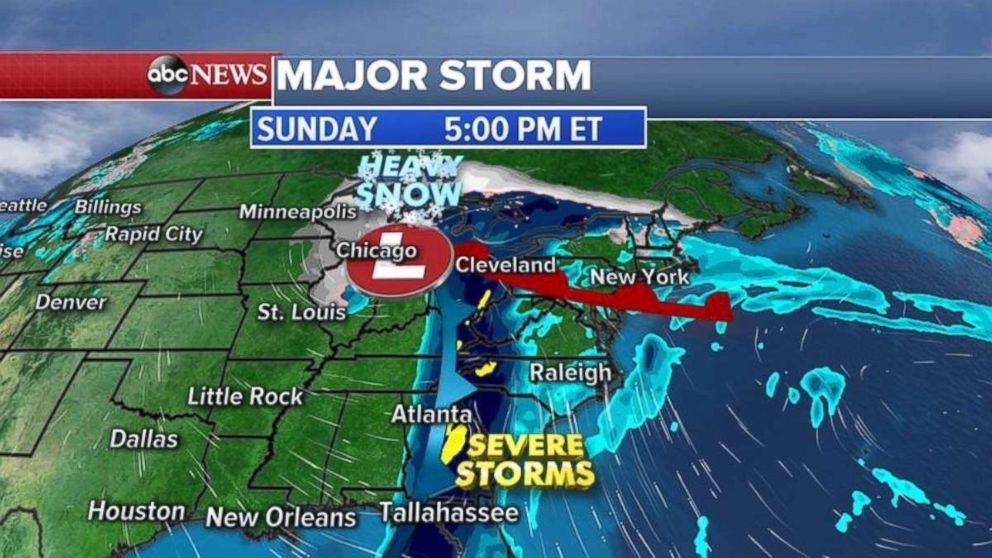 On Sunday, a major storm moves into the Southeast.