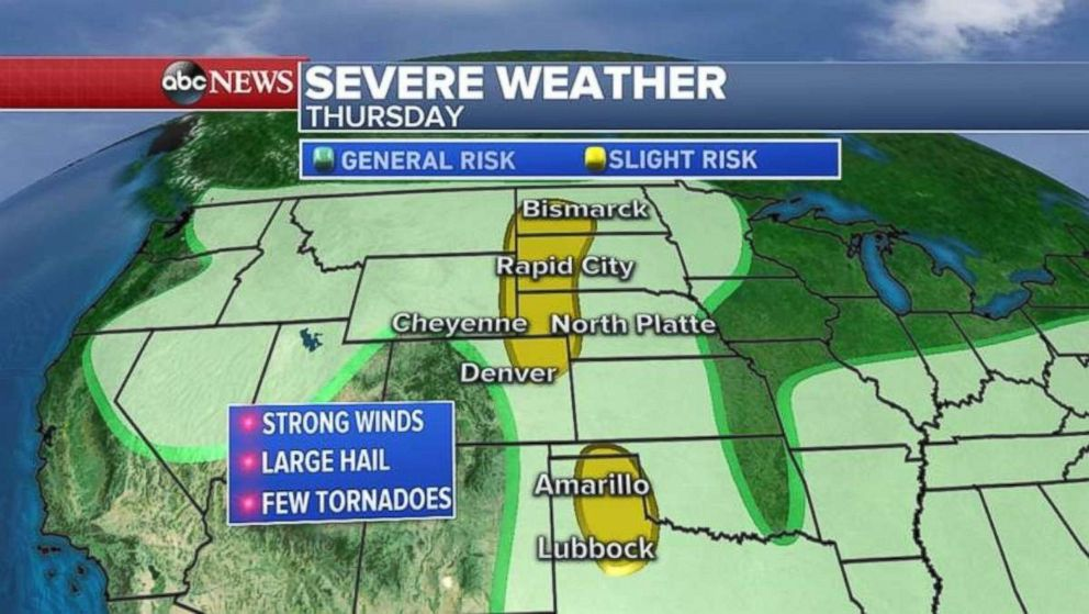 Large swaths of the Plains are facing severe weather today.