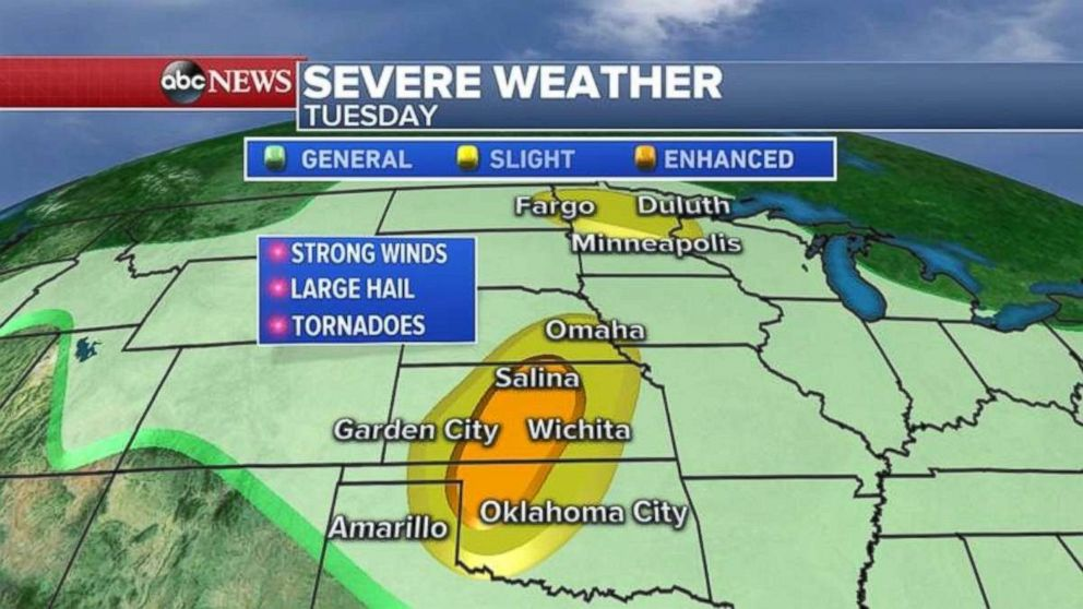 Severe weather today in the Midwest is mostly concentrated in Oklahoma and Kansas